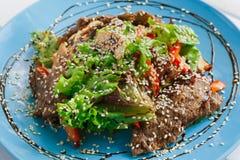 餐馆食物特写镜头 温暖的肉沙拉用芝麻 免版税库存图片