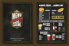 餐馆食物菜单葡萄酒设计有黑板背景v 免版税库存照片