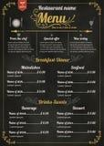 餐馆食物菜单设计有黑板背景 免版税库存照片