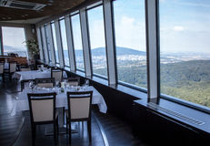 从餐馆高度的看法在布拉索夫,斯洛伐克 图库摄影