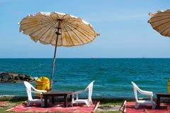 餐馆,海在Rayong,泰国 免版税库存图片