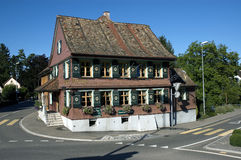 餐馆Bären历史建筑bottighofen 库存照片