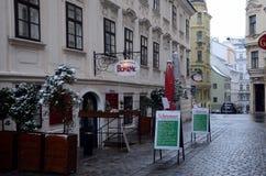 餐馆Boheme在Spittelberg 库存照片