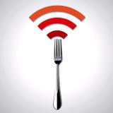餐馆WiFi的传染媒介例证 免版税库存图片