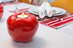 饭桌土气圣诞节设置 库存照片