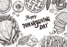 饭桌,顶视图 与食物的传染媒介例证的模板传统感恩天菜单的 免版税库存照片