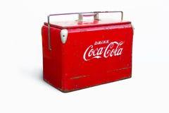 饮料可口可乐年迈的致冷机 库存图片