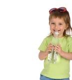 饮料女孩少许水 库存照片