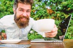 饮料快速地咖啡工作 有胡子的人自由职业者的工作者 遥远的工作 自由职业者的专业职业 网上博克 免版税库存图片