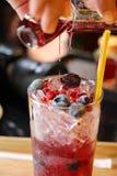 饮料用新鲜水果和糖浆 免版税图库摄影