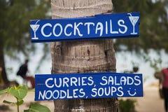 饮料的标志和食物在泰国 库存图片