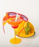 饮料装饰用果子、玛格丽塔酒玻璃、饮料staw和冰 库存照片