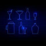 饮料象霓虹样式传染媒介例证 免版税库存照片