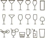 饮料,鸡尾酒,喝传染媒介,稀薄的黑线标志象 汁液,水,啤酒,酒,科涅克白兰地象征,酒精鸡尾酒 库存图片