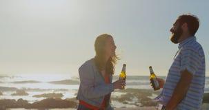 饮用愉快的年轻的夫妇在海滩4k的啤酒 股票视频