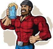 饮用的伐木工人 免版税库存照片
