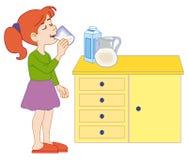 饮用的女孩牛奶年轻人 免版税图库摄影