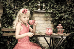 饮用的女孩茶 库存图片