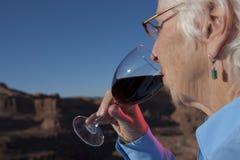 饮用的年长酒妇女 库存照片