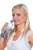 饮用的矿物s渴水妇女 免版税库存照片