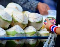 饮用的绿色椰子 图库摄影