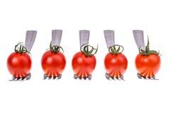 饮食健康营养的概念 在叉子的西红柿 库存图片