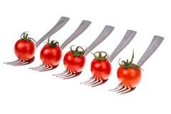 饮食健康营养的概念 在叉子的西红柿 图库摄影