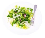 饮食减重早餐概念 新鲜的绿色有机沙拉叶子的混合 库存照片