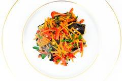 饮食和健康食物:沙拉用茄子,红萝卜 免版税库存图片