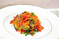 饮食和健康食物:沙拉用茄子,红萝卜 免版税图库摄影