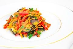 饮食和健康食物:沙拉用茄子,红萝卜 库存照片