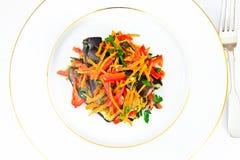 饮食和健康食物:沙拉用茄子,红萝卜 图库摄影