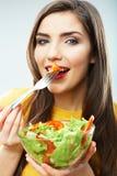 饮食妇女被隔绝的画象 接近的表面女性 免版税库存图片