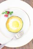 饮食早餐:炒蛋用夏南瓜 免版税库存图片