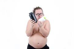 饮食的肥胖人 免版税库存图片