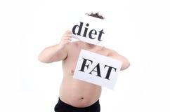饮食的肥胖人 免版税图库摄影