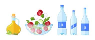 饮食食物,从农夫的沙拉生态上清洗自然产品 库存例证