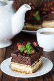 饮食香草和巧克力蛋糕 免版税库存图片