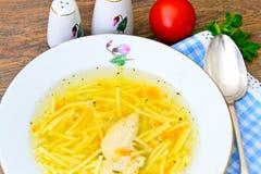 饮食鸡汤汤用荷兰芹 库存照片