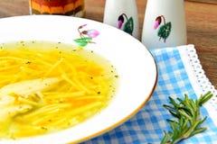 饮食鸡汤汤用荷兰芹 免版税图库摄影