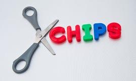 饮食:被删去的芯片 免版税库存照片