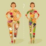 饮食 女孩选择:是肥胖或亭亭玉立的 健康生活方式和恶习 免版税库存照片
