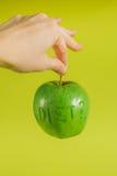 饮食绿色Apple 免版税库存照片