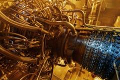 饲料压气机被找出的里面被加压的封入物汽轮机引擎,汽轮机引擎用于近海处 库存照片