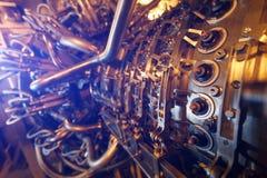 饲料压气机被找出的里面被加压的封入物汽轮机引擎,汽轮机引擎用于近海处 免版税库存照片