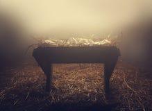 饲槽在雾下的晚上 免版税库存照片