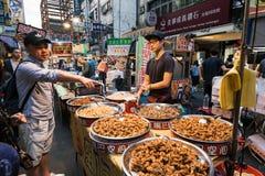 饶河街夜市场,台北,台湾 免版税库存照片