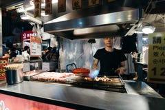 饶河街夜市场,台北,台湾 库存照片