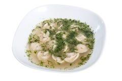 饺子和荷兰芹用汤-俄国pelmeni -意大利馄饨在被隔绝的白色板材 免版税库存照片