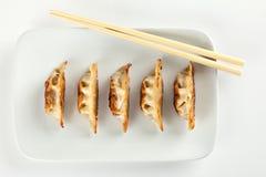 饺子油煎了罐头食品滞销货 免版税库存图片